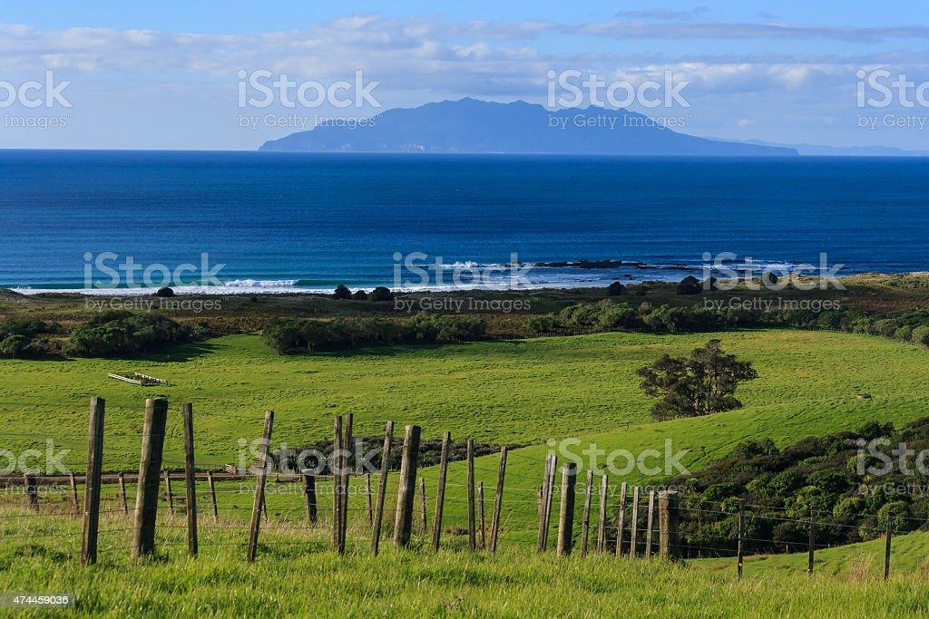 grassland above Anchor Bay stock photo