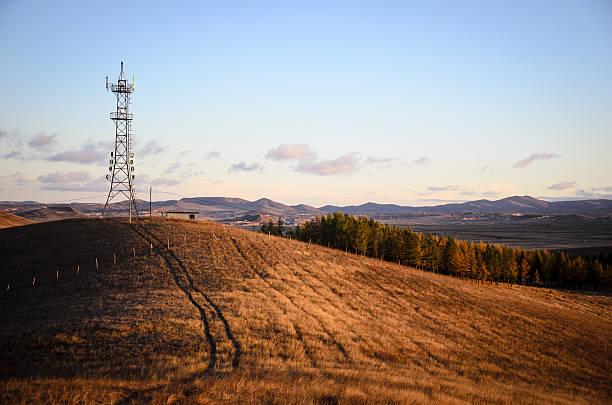 grassland al mattino - ripetitore foto e immagini stock
