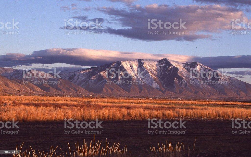 Grasslands and Wetlands Lake Utah near Spanish Fork Utah stock photo