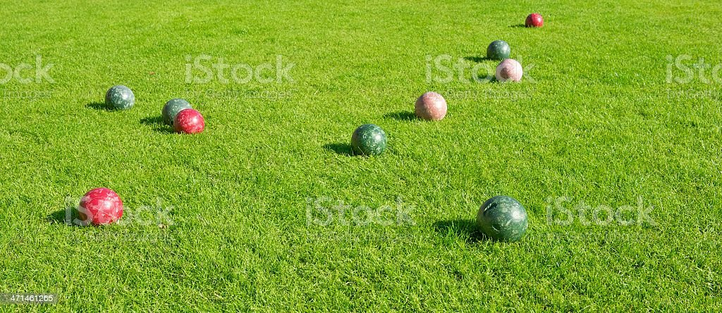 Grassy Area with Bocce Balls Game stock photo