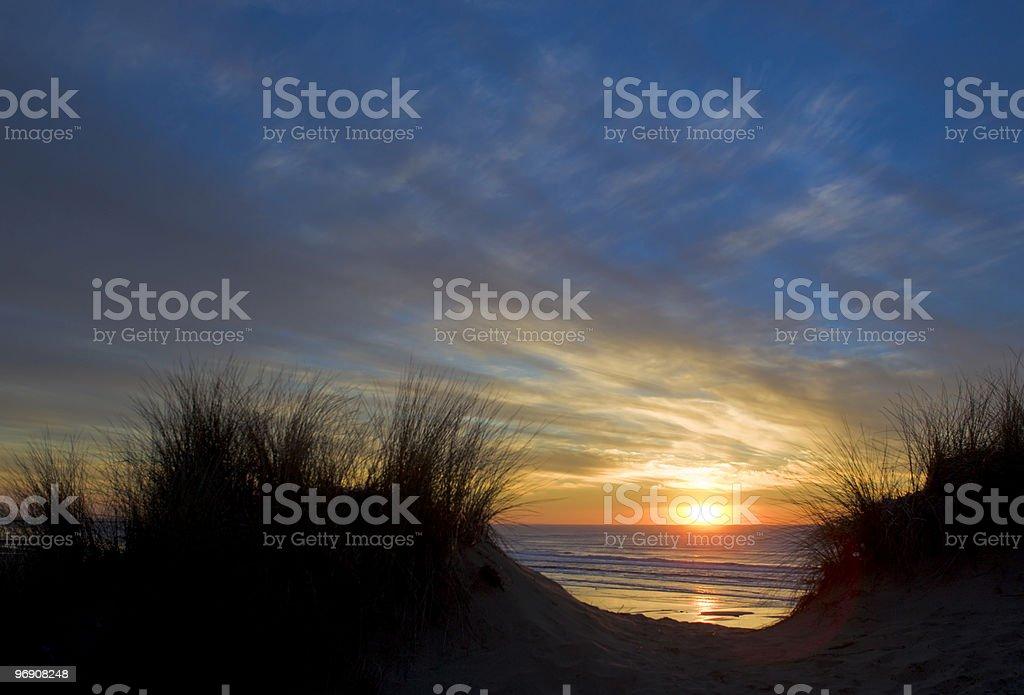 Grassy Dunes Sunset royalty-free stock photo