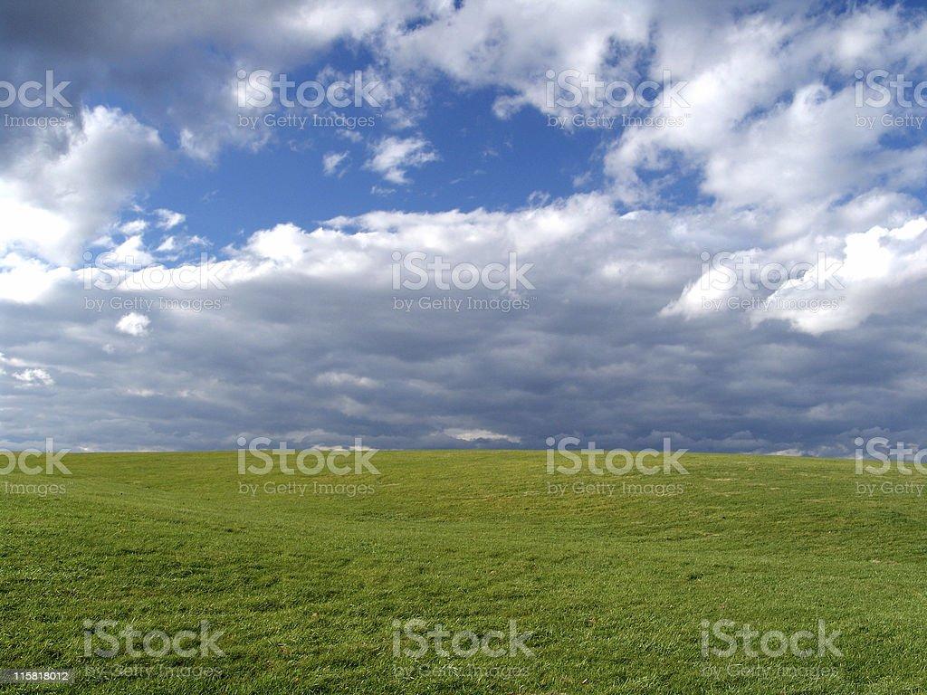Grassy Field, Blue Sky stock photo