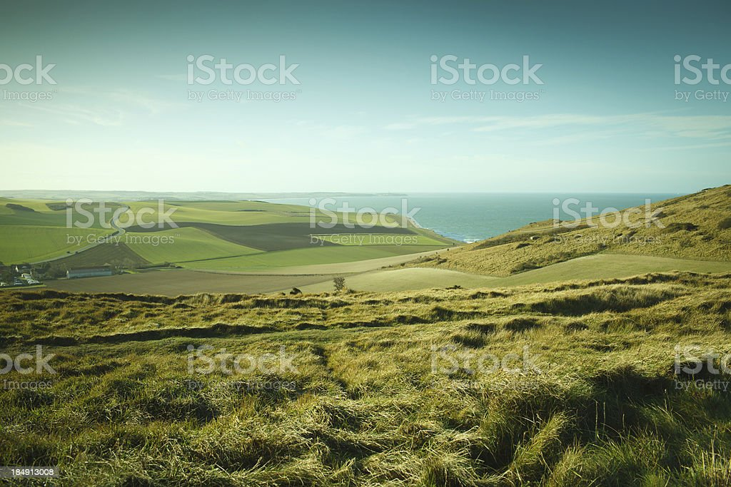 Grassy fields on cliffs in northern France stock photo