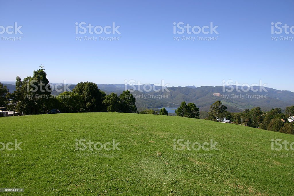 grassy knoll with tree and mountain views royalty-free stock photo