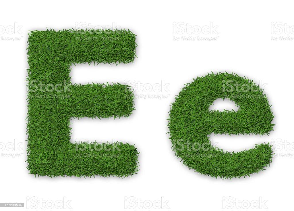 Grassy letter E royalty-free stock photo