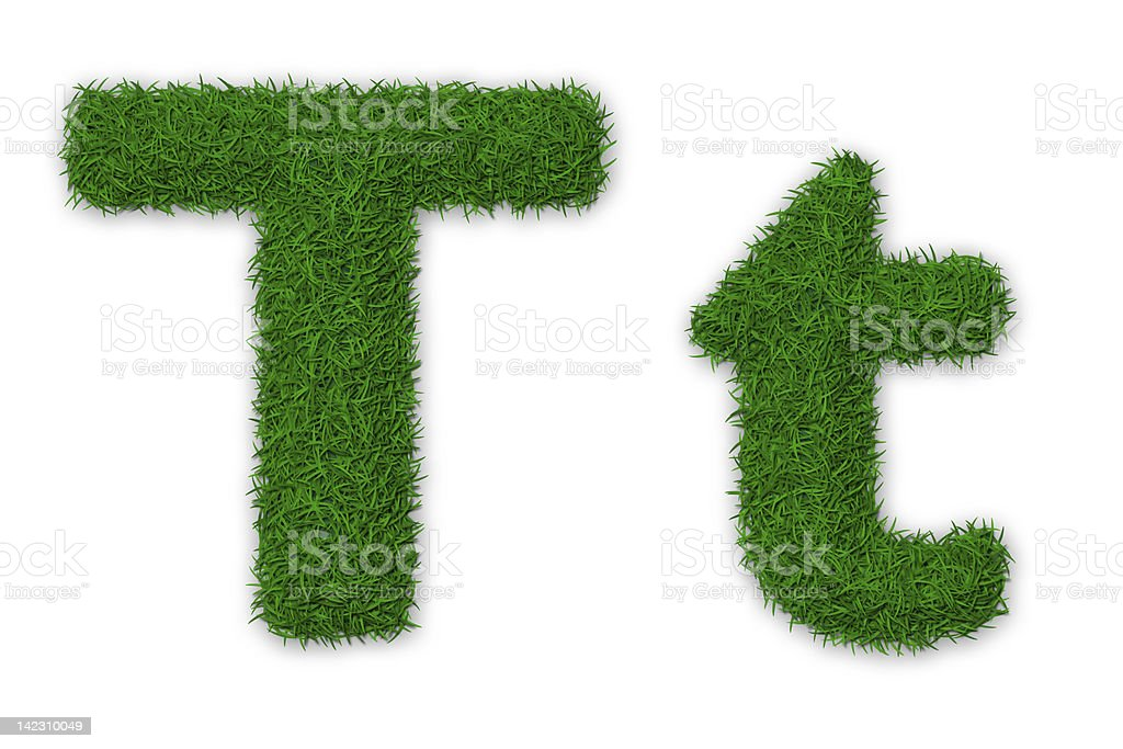 Grassy letter T stock photo