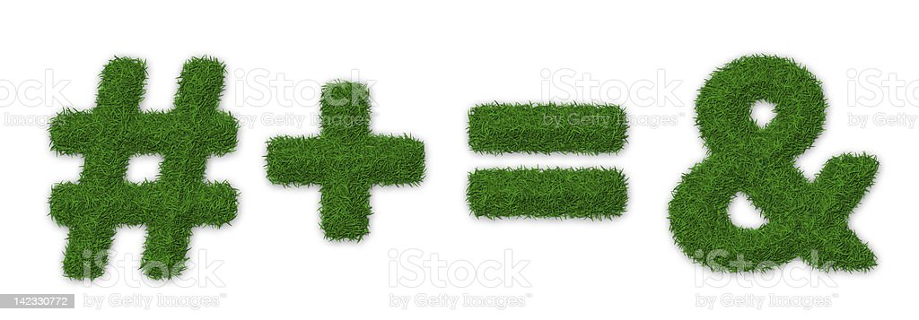 Grassy math symbols stock photo