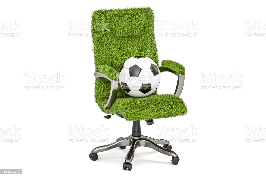 Grasbewachsenen Bürostuhl mit Fußball-Kugel-Konzept, 3D-Rendering isolierten auf weißen Hintergrund – Foto