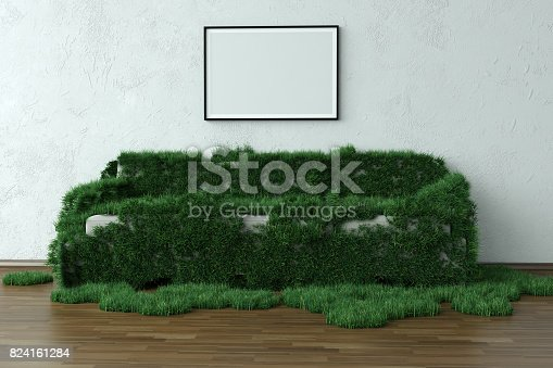 Grassy Sofa In Green House With Blank Frame ( 3d render )