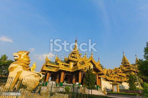 Grate lion statue at north entrance gate of Shwedagon pagoda,Yangon in Myanmar