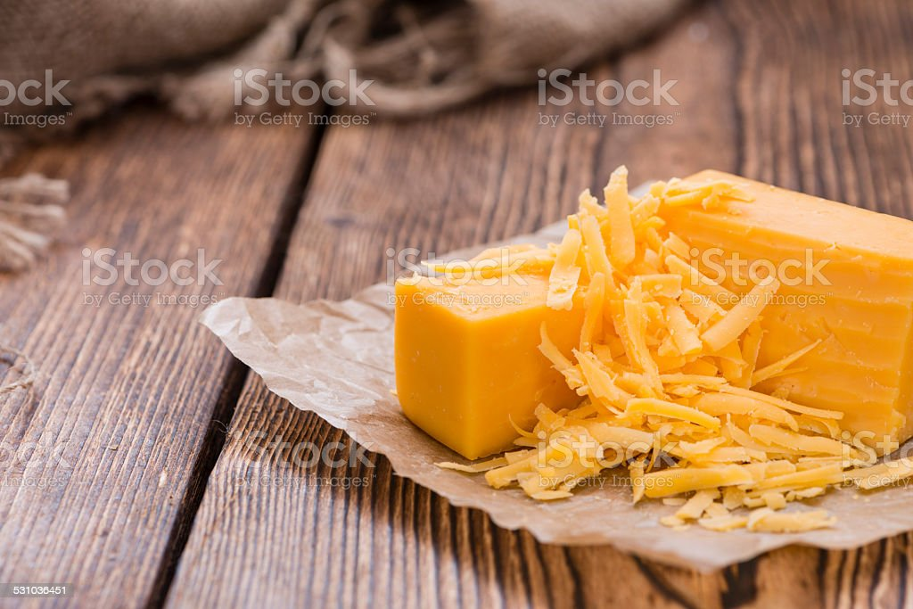 Grated Cheddar stock photo