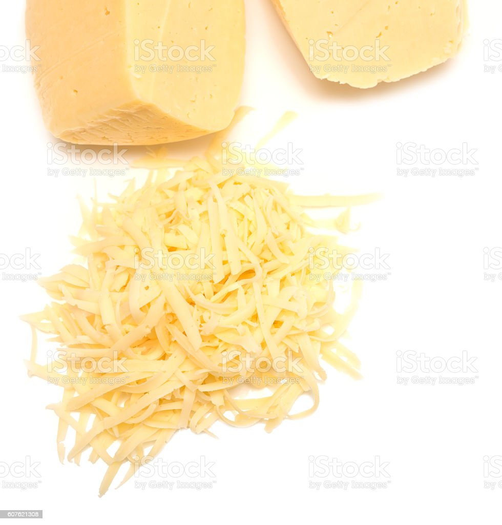 grated cheese isolated stock photo