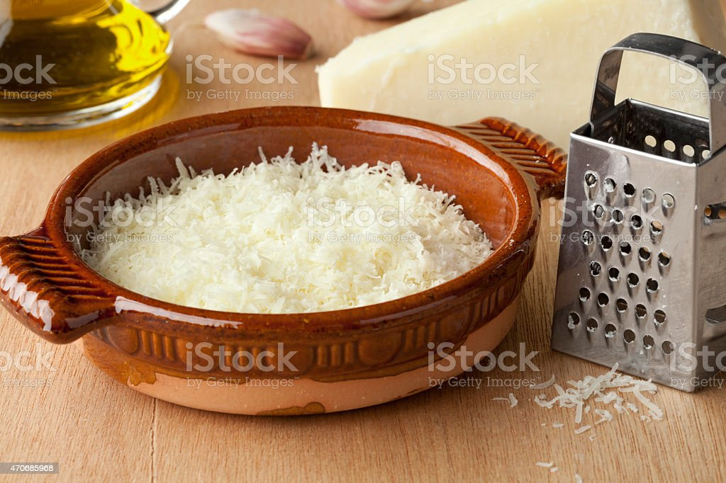 Grated Italian pecorino romano cheese stock photo