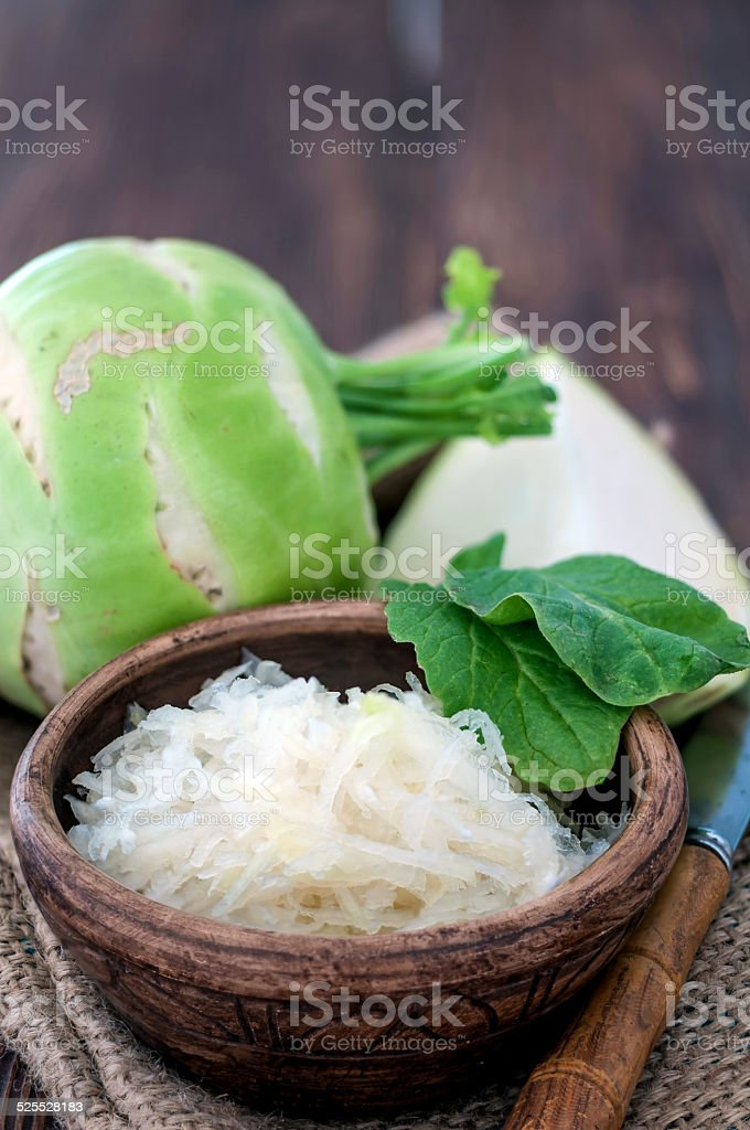 grated kohlrabi stock photo