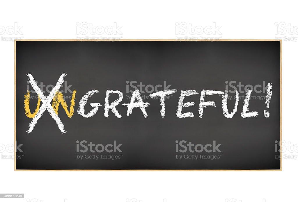 Grateful! blackboard isolated on white stock photo