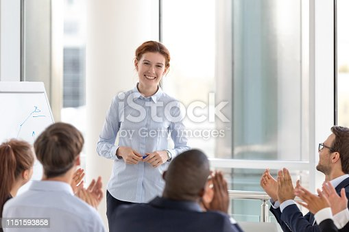 924519152 istock photo Grateful business audience applauding speaker coach thanking for conference 1151593858