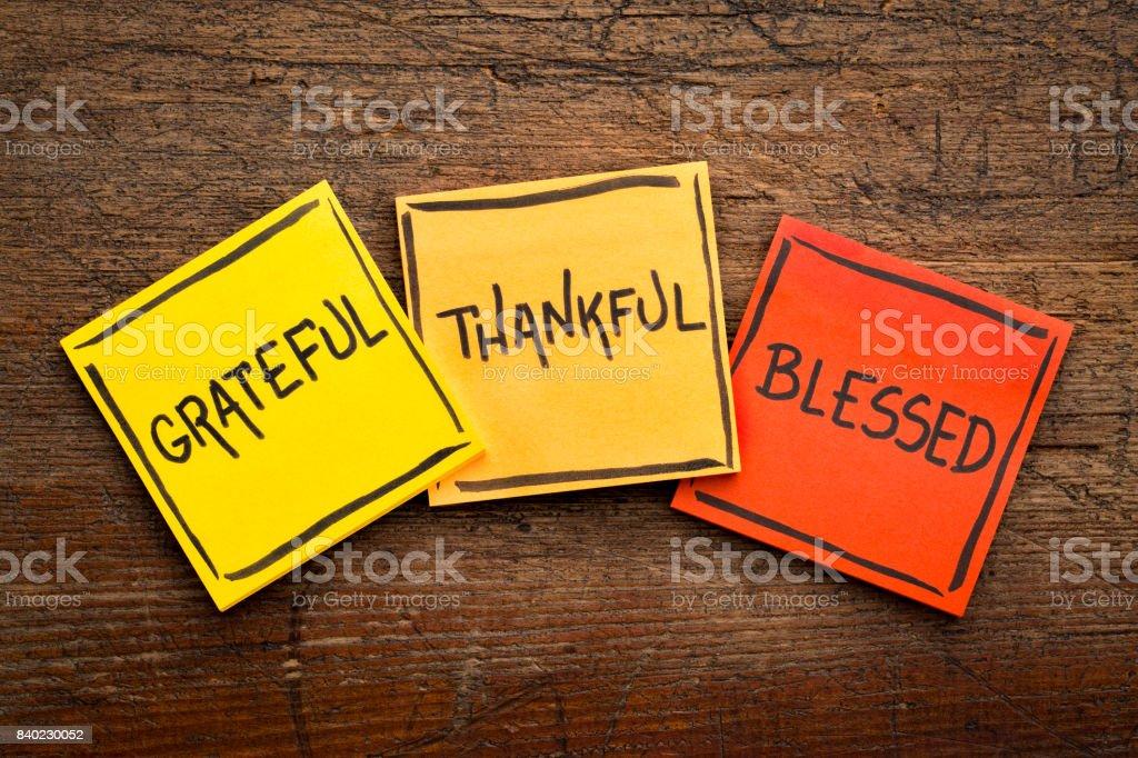 Grateful, thankful, blessed  spiritual words stock photo