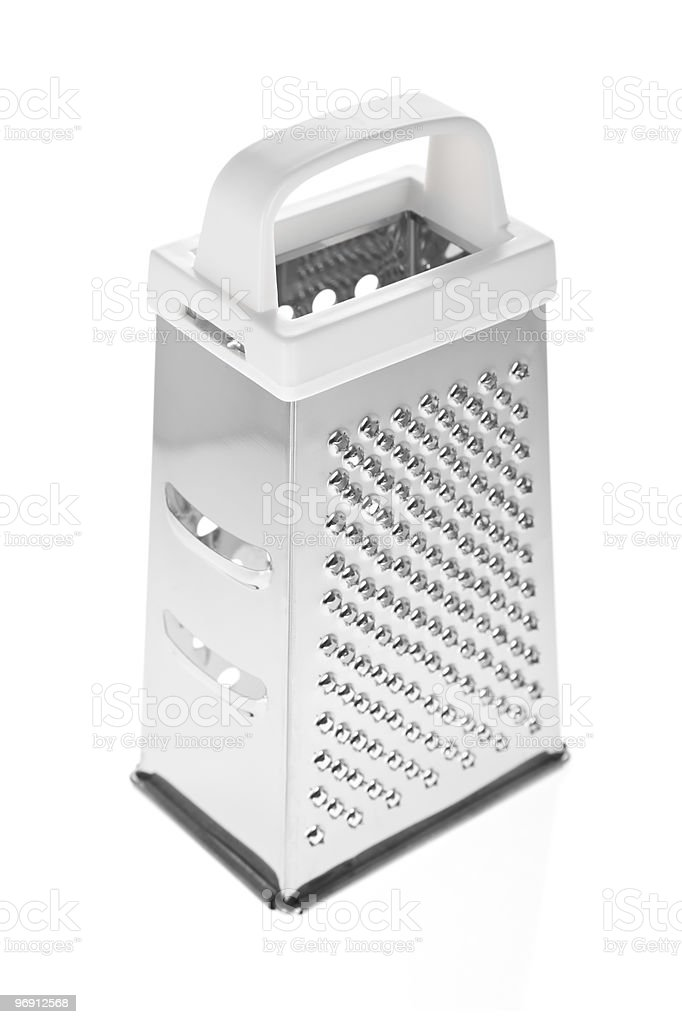 Grater in stainless steel isolated on white royalty-free stock photo