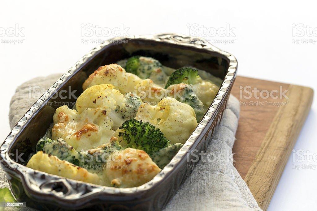 Gratin of cauliflower, broccoli and cheese royalty-free stock photo