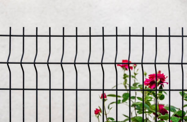 grating wire industrial fence panels stock photo