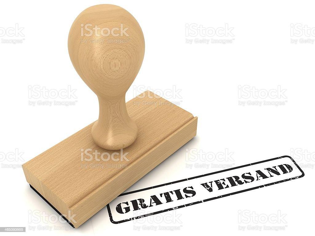 Gratis versand - free shipping - rubber stamp stock photo