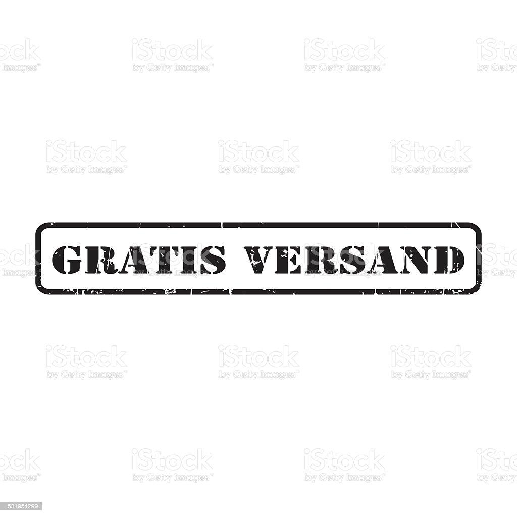 Gratis versand - free shipping - stamp stock photo