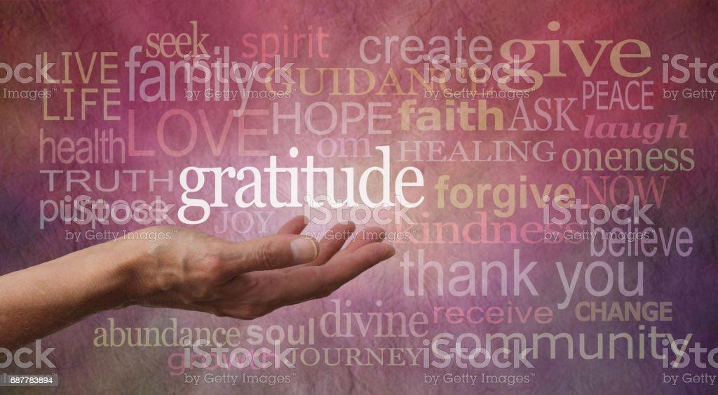 Gratitude Attitude Word Cloud stock photo