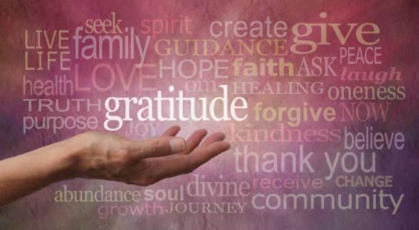dankbaarheid houding word cloud - bedankt stockfoto's en -beelden