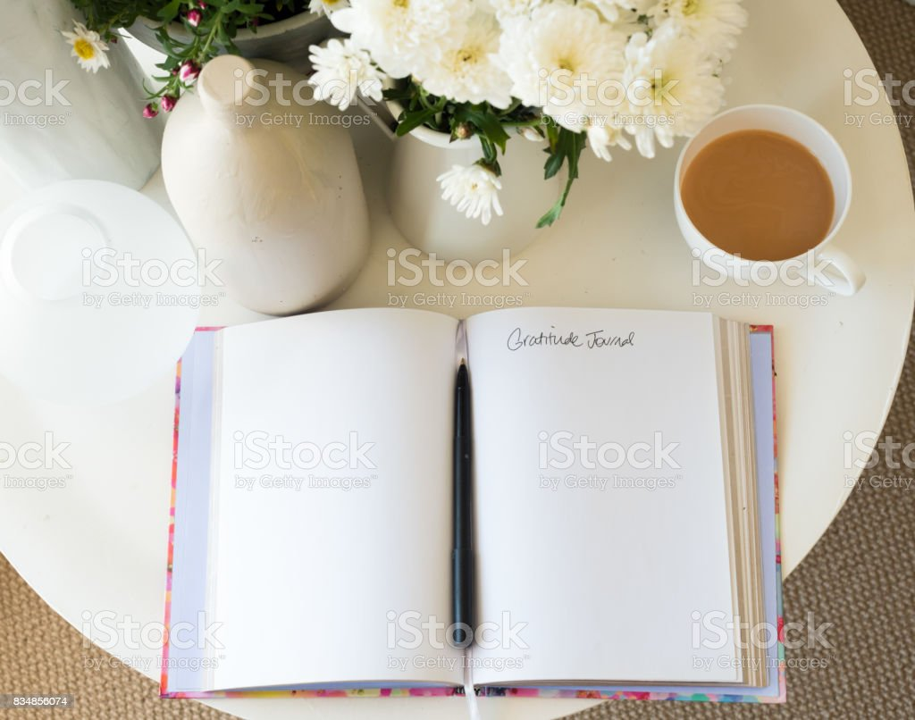 Gratitude journal from above stock photo