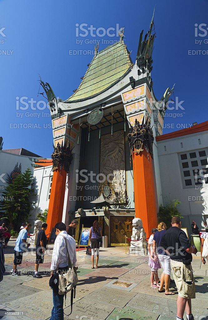 Grauman's Chinese Theater and visitors stock photo