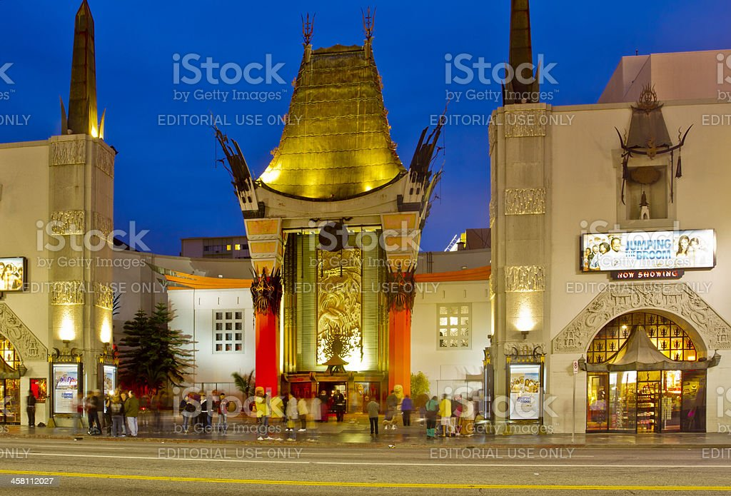 Grauman's Chinese Theater at Night stock photo