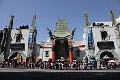 Los Angeles, USA - April 15, 2018: People visiting the Grauman's Chinese Theater on Hollywood Boulevard Los Angeles