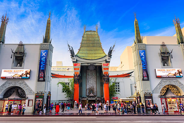 Grauman's Chinese Theater Los Angeles, CA, USA - March 1, 2016: Tourists at Grauman's Chinese Theater on Hollywood Boulevard. The theater has hosted numerous premieres and events since it opened in 1927. walk of fame stock pictures, royalty-free photos & images