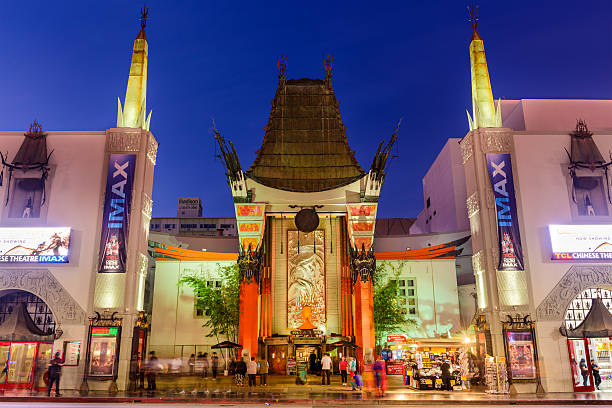 Grauman's Chinese Theatre Los Angeles, California, USA - March 1, 2016: Crowds gather at Grauman's Chinese Theater on Hollywood Boulevard. The landmark theater has hosted numerous premieres and award ceremonies since it opened in 1927. hollywood boulevard stock pictures, royalty-free photos & images