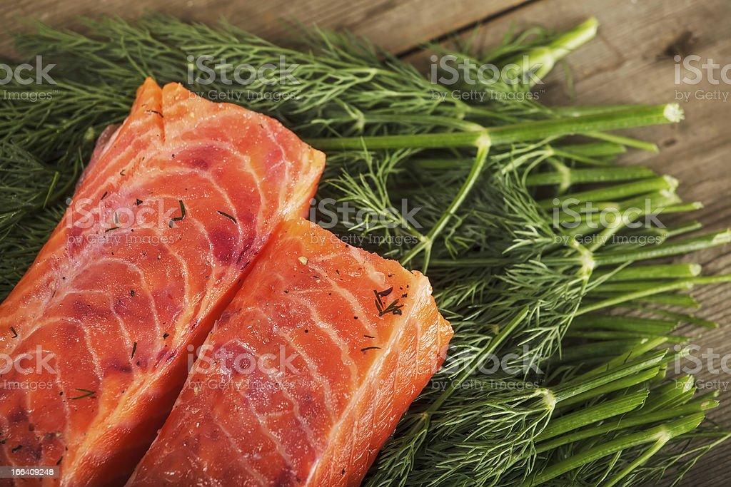 Grav lax on the greenery stock photo