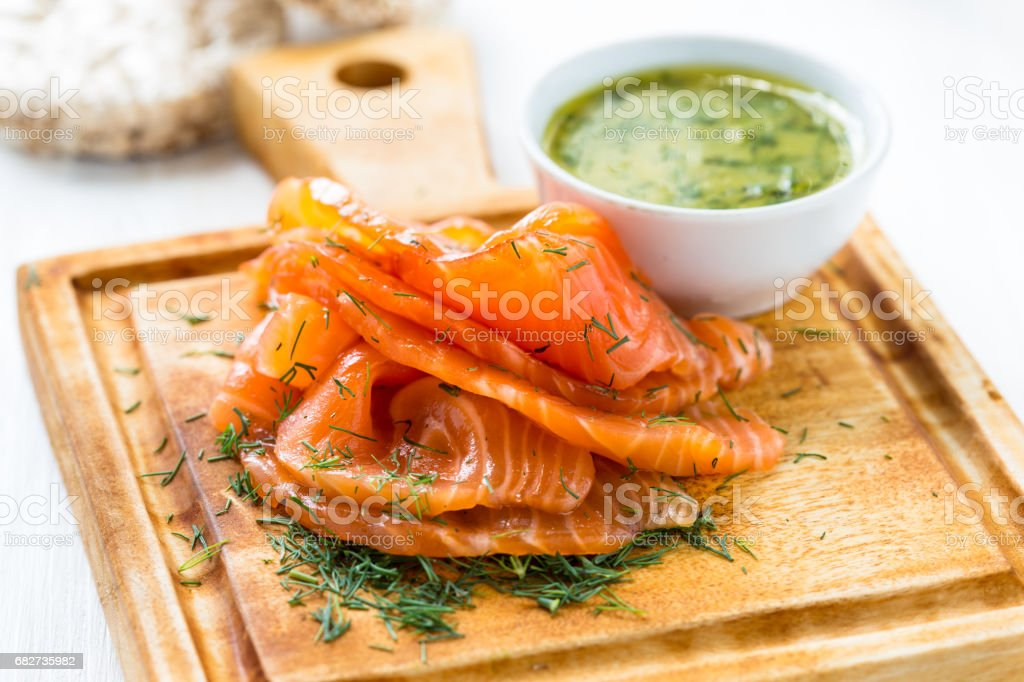 Gravadlax, Scandinavian-style smoked salmon stock photo