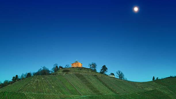 Grave Chapel Rotenberg at Full Moon, Stuttgart stock photo