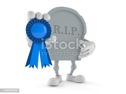 istock Grave character with award ribbon 1190097847