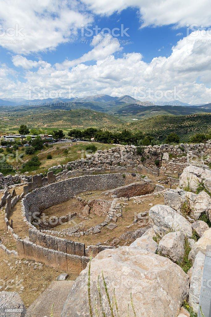 Grave circle A in Mycenae, Peloponnese, Greece stock photo