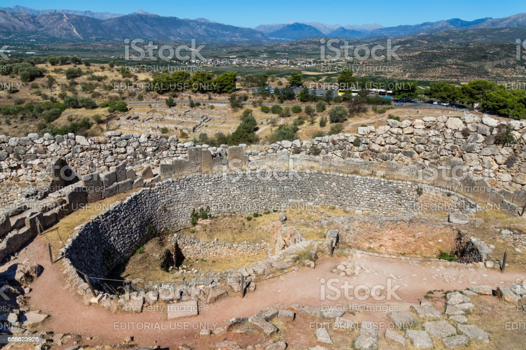 Grave Circle A in Mycenae stock photo