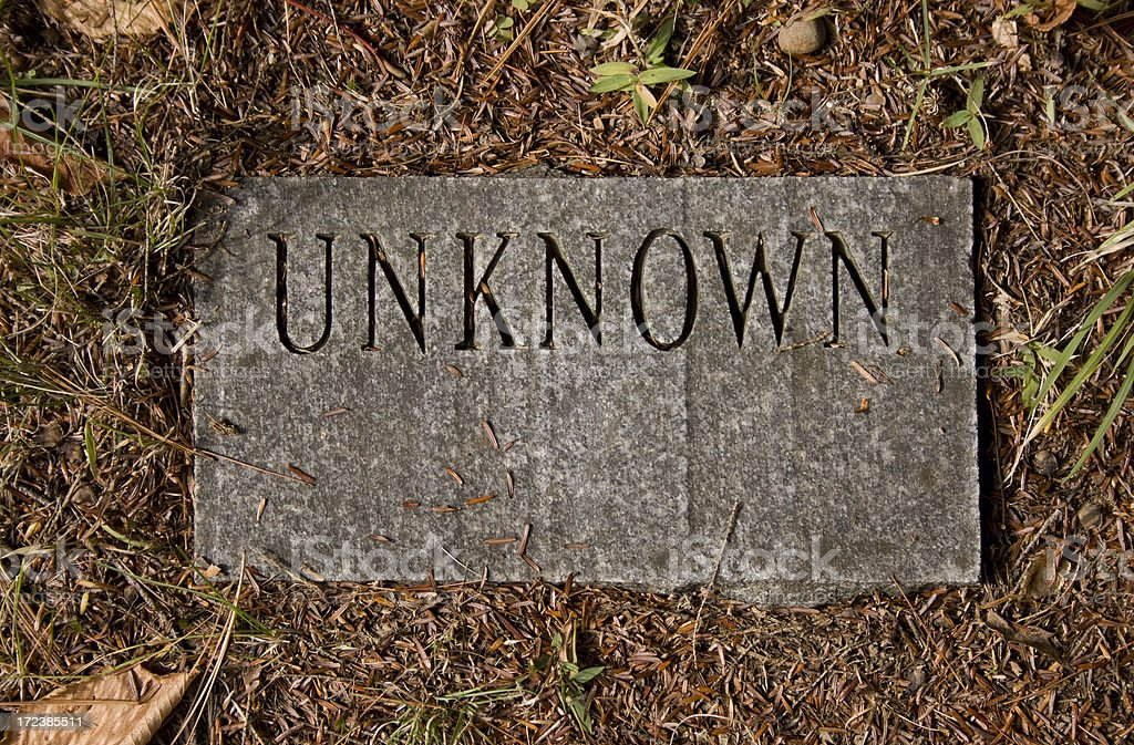 Grave Marker - Unknown stock photo