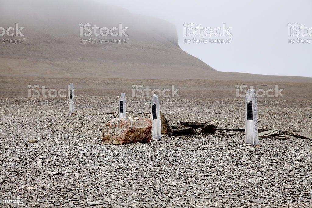 Grave markers, Sir John Franklin Expedition, Beechey Island, Nunavut, Canada. stock photo