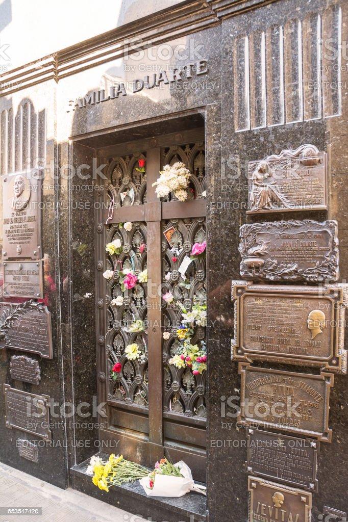 Grave of Duarte Family stock photo