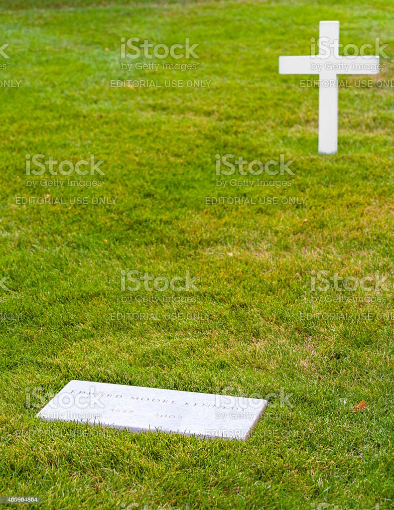 grave of Edward moore Kennedy in Arlington stock photo