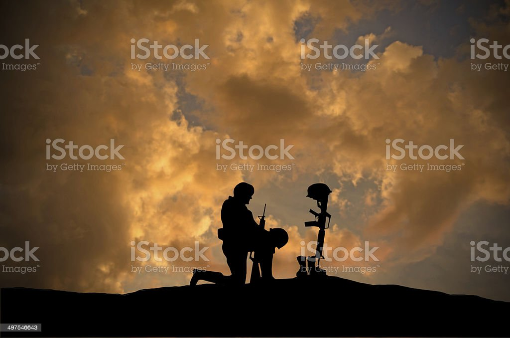 Grave of Fallen Soldier stock photo