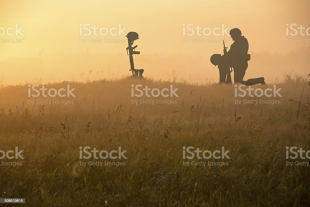 Grave of Fallen Soldier- Veterans or Remebrance Day stock photo