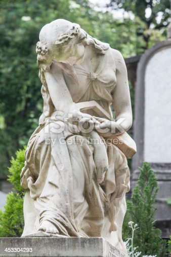 Grave of Frederic Chopin in Paris showing ornate female statue on top of his tomb in Pare Lachaise Cemetery, Paris