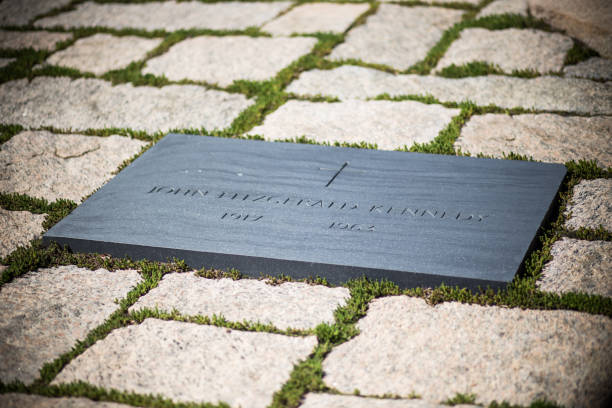 Grave of president John F. Kennedy at Arlington National Cemetery stock photo