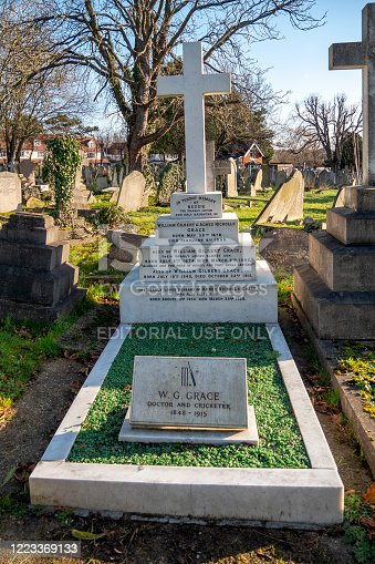 A number of graves of famous people line the pathways in the cemetery in Beckenham, Kent (a suburb of South London). This is the grave of W.G. Grace and his family. Dr Grace (1848-1915) was one of the most famous ever English cricketers. An amateur, he played for a record 44 seasons, from 1865-1908, and captained England as well a number of other teams. He was an all-rounder (batsman and bowler) as well as being a prime fielder and also excelled in other sports as well as being a medical practitioner. He was always controversial, being fiercely competitive and known for 'gamesmanship'. It is also thought that, although an 'amateur', he actually earned a considerable amount of money from his cricketing activities. His nicknames included W.G., The Doctor, The Champion, The Big 'Un, The Old Man.
