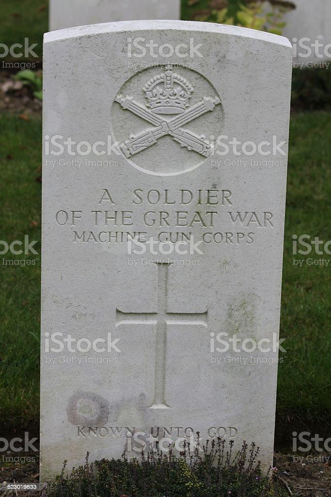 Grave of WW I Unknown Soldier, Machine Gun Corps stock photo